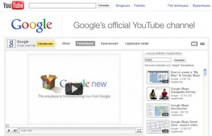 Google csatorna a Youtube-n