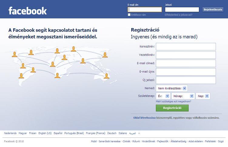 A Facebook mostani főoldala