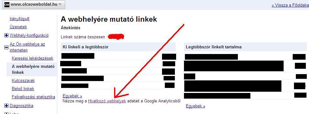Link a Google Analytics statisztikához