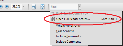 Open Full Reader Search